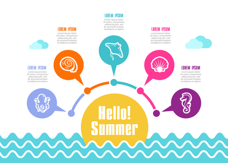 Summer vector icon. Beach. Travel. Summertime infographics. Vacation Иллюстрация