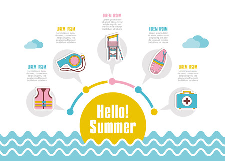 Summer vector icon. Beach. Travel. Summertime infographics. Vacation Çizim