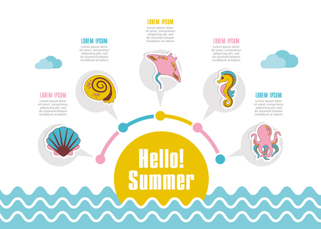 Summer vector icon. Beach. Travel. Summertime infographics. Vacation 矢量图像