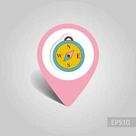Compass vector pin map icon. Map pointer. Summer Map markers. Holiday. Summertime, eps 10