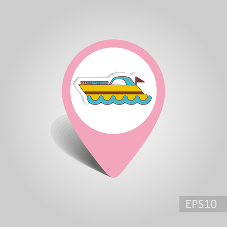 Ship Boat vector pin map icon. Marine Map pointer. Summer Map markers. Holiday. Summertime.