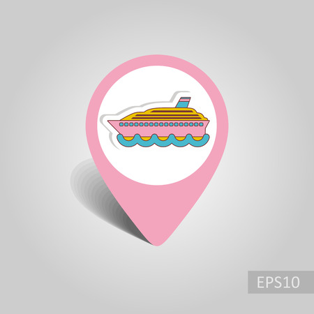 Cruise transatlantic liner vector pin map icon. Marine Map pointer. Summer Map markers. Holiday. Summertime.