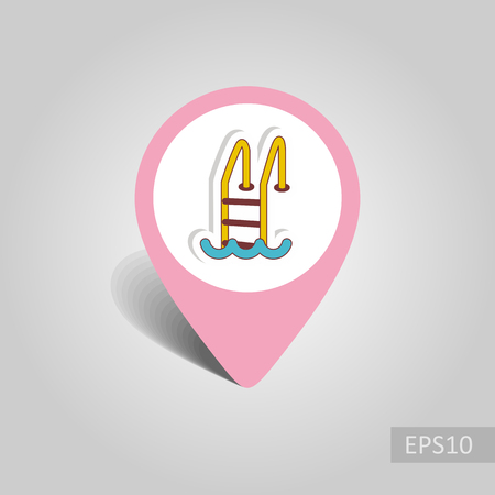 Swimming pool vector pin map icon. Beach Map pointer. Summer Map markers. Holiday. Summertime.