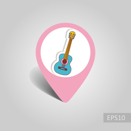 Guitar Beach vector pin map icon. Beach Map pointer. Summer Map markers. Holiday. Summertime. Vacation, eps 10 Illustration