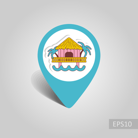 Bungalow with palm trees vector pin map icon. Beach Map pointer. Summer Map markers. Summertime. Иллюстрация