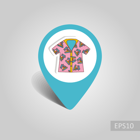 Hawaiian Shirt with palm tree vector pin map icon. Beach Map pointer. Summer Map markers. Summertime. Illustration