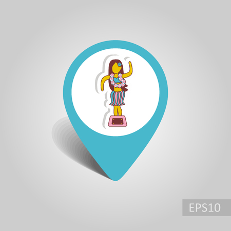 Hula Dancer Statuette vector pin map icon. Map pointer. Summer Map markers. Summertime. Vacation, eps 10