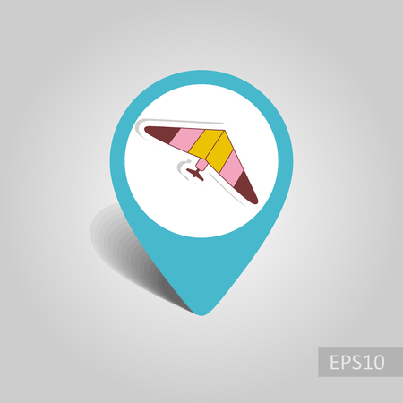 Hang Glider vector pin map icon. Travel Map pointer. Summer Map markers. Summertime. Vacation, eps 10 Banque d'images - 104290362