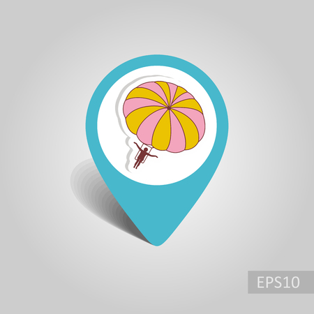 Parasailing. Summer kiting activity vector pin map icon. Beach Map pointer. Summer Map markers. Summertime.