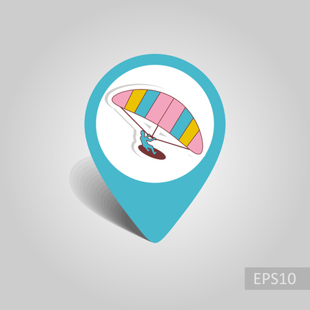 Kite boarding. Kite surfing vector pin map icon. Beach Map pointer. Summer Map markers.