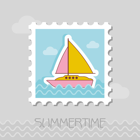 Boat with a Sail flat stamp. Beach. Summer. Marine. Vacation, eps 10 Ilustracja