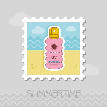 Sun Cream in Spray flat stamp. Beach. Summer. Summertime. Vacation, eps 10