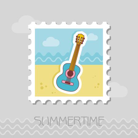 Guitar Beach flat stamp. Beach. Summer. Summertime. Vacation, eps 10