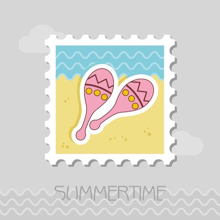 Maracas flat stamp. Beach. Summer. Summertime.