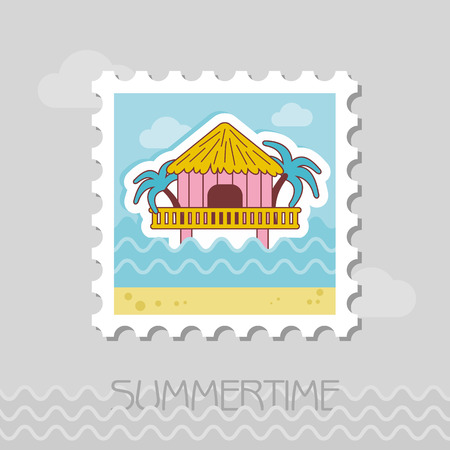 Bungalow with palm trees vector stamp. Beach. Summer. Summertime.