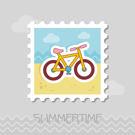 Bicycle flat stamp. Beach. Summer. Summertime. Illustration