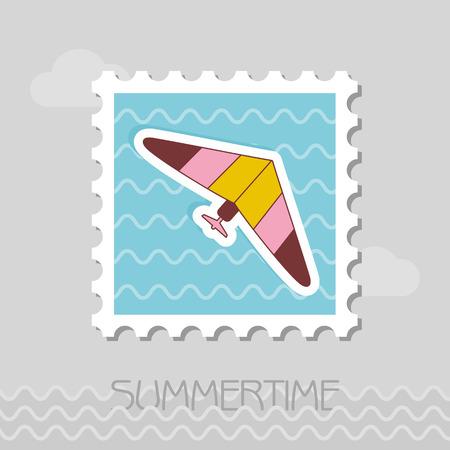 Hang Glider vector stamp. Travel. Summer. Summertime. Holiday. Vacation