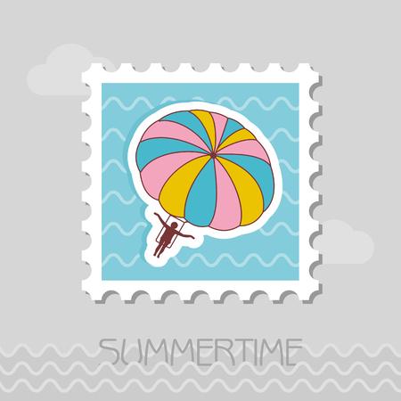 Parasailing. Summer kiting activity vector stamp. Beach. Summer. Summertime. Holiday.