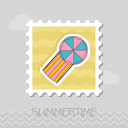 傘ベクトルスタンプ付きビーチ長椅子ラウンジ。夏。夏時。休日。