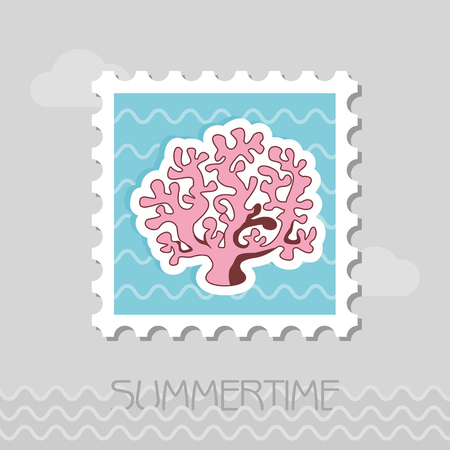 Coral vector stamp. Beach. Summer. Summertime. Holiday. Çizim