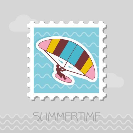 Kite boarding. Kitesurfing vector stamp. Beach. Summer. Summertime. Holiday.