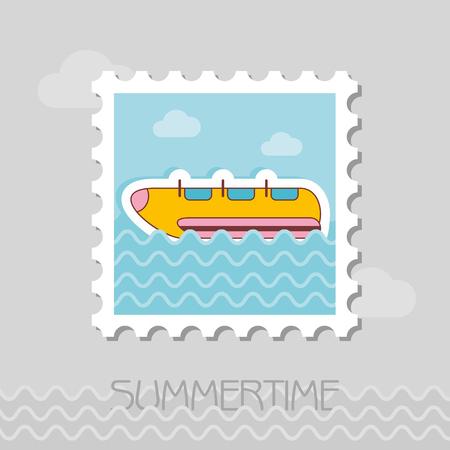 Yellow banana boat vector stamp. Beach. Summer. Summertime. Holiday. Vacation, ride, water sport