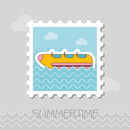 Yellow banana boat vector stamp. Beach. Summer. Summertime. Holiday. Vacation, ride, water sport