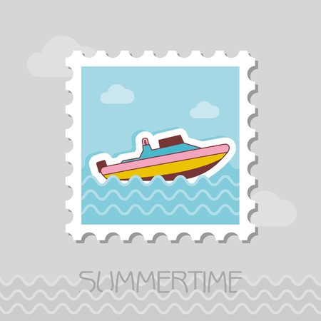 Speed boat vector stamp. Travel. Summer. Summertime. Holiday. Vacation