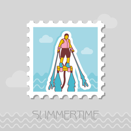 FlyBoard FlySurf vector stamp. Beach. Summer. Summertime. Holiday. Vacation, ride, water sport Illustration