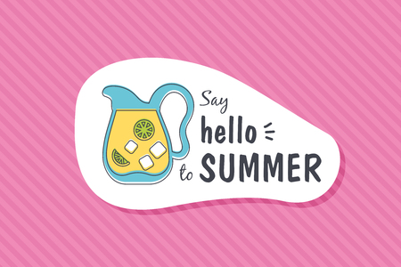 Colorful cute hand drawn summer cards, background. Vector illustrations for t-shirt, poster prints. Holiday, travel, vacation theme. Say hello to summer Illusztráció