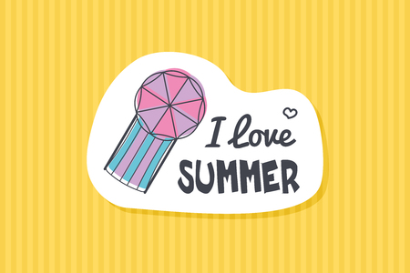 Colorful cute hand drawn summer cards, background. llustrations for t-shirt, poster prints. Holiday, travel, vacation theme. Life on the beach