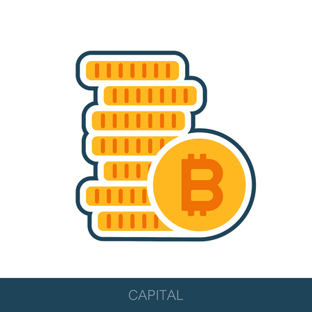Pile of bitcoin coins icon. Vector design of blockchain technology, bitcoin, altcoins, cryptocurrency mining, finance, digital money market