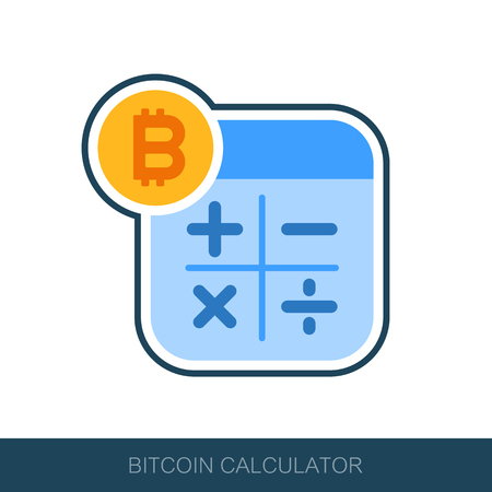 Calculator with bitcoin sign icon. Vector design of blockchain technology, bitcoin, altcoins, cryptocurrency mining, finance, digital money market