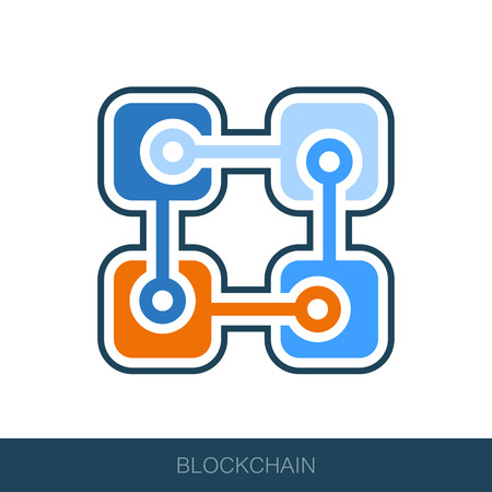 Blockchain vector icon. Vector design of blockchain technology, bitcoin, altcoins, cryptocurrency mining, finance, digital money market