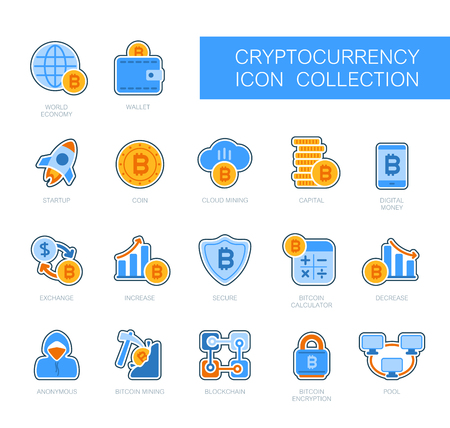 Cryptocurrency and blockchain icons. Vector design of blockchain technology, bitcoin, altcoins, cryptocurrency mining, finance, digital money market Иллюстрация