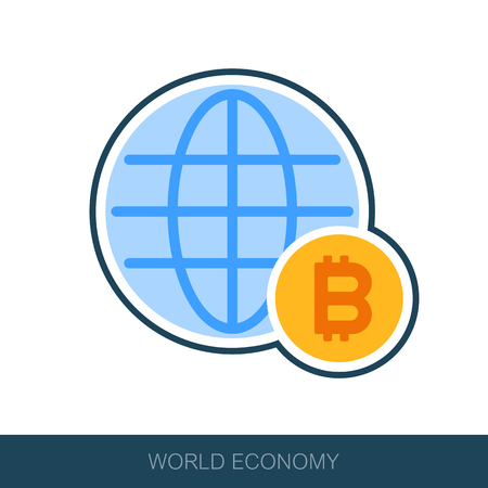 Global economy icon, financial and money concept. Vector design of blockchain technology, bitcoin, altcoins, cryptocurrency mining, finance, digital money market Иллюстрация