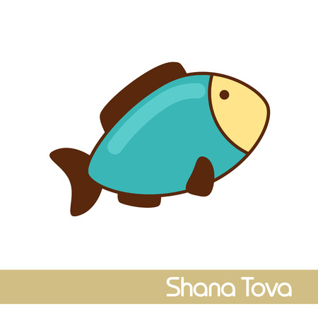 Fish. Rosh Hashanah icon. Shana tova. Happy and sweet new year in Hebrew 向量圖像
