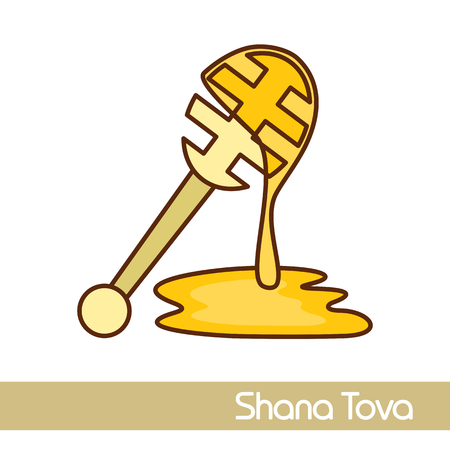 Honey dipper. Rosh Hashanah icon. Shana tova. Happy and sweet new year in Hebrew 向量圖像