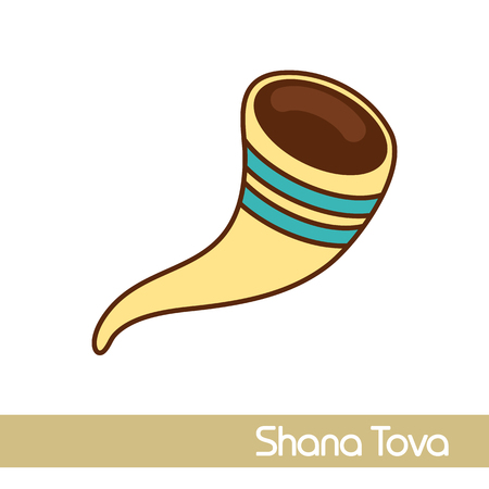Shofar. Rosh Hashanah icon. Shana tova. Happy and sweet new year in Hebrew 일러스트