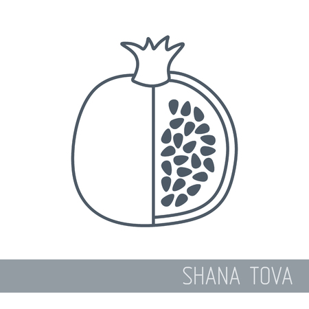 Garnet. Rosh Hashanah icon. Shana tova. Happy and sweet new year in Hebrew