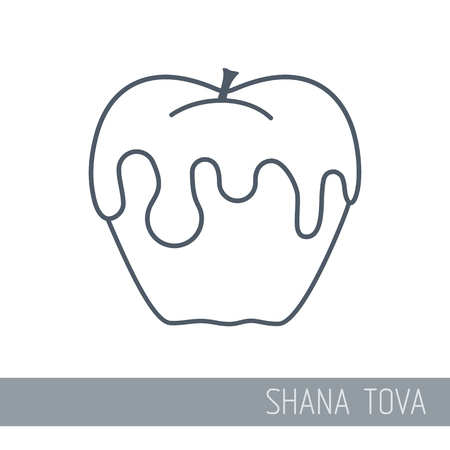 Honey on apple. Rosh Hashanah icon. Shana tova. Happy and sweet new year in Hebrew