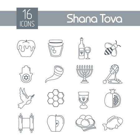 Rosh Hashanah, Shana Tova or Jewish New year flat vector icons set Stok Fotoğraf - 106903059