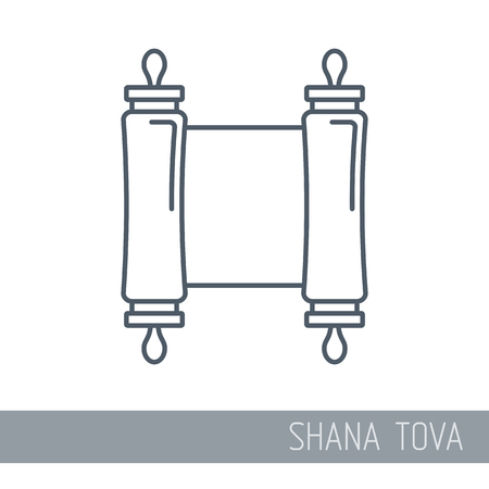 Torah scroll. Rosh Hashanah icon. Shana tova. Happy and sweet new year in Hebrew Vektorové ilustrace