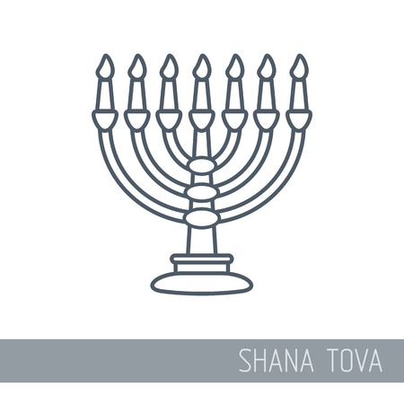 Menorah. Rosh Hashanah icon. Shana tova. Happy and sweet new year in Hebrew