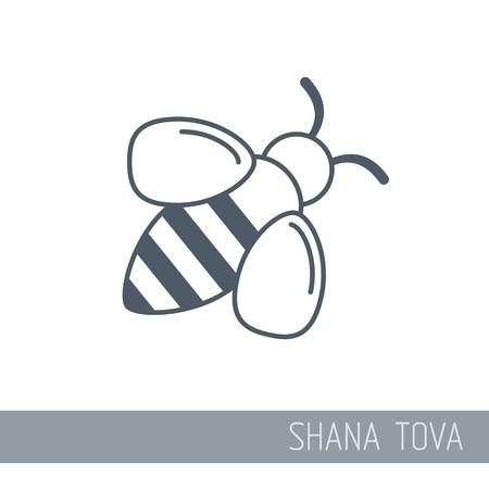 Abeille. Icône de Rosh Hashanah. Shana Tova. Bonne et douce nouvelle année en hébreu