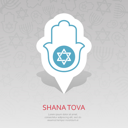 Hamsa hand. Rosh Hashanah pin map icon. Shana tova Map pointer. Happy and sweet new year in Hebrew. Map marker. Graph symbol for your web site design,   app, UI. Vector illustration