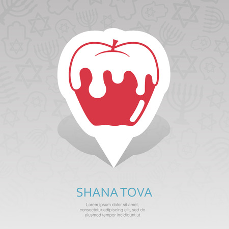 Honey on apple. Rosh Hashanah pin map icon. Shana tova Map pointer. Happy and sweet new year in Hebrew. Map marker. Graph symbol for your web site design, app, UI. Vector illustration