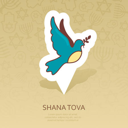 Dove. Rosh Hashanah pin map icon. Shana tova Map pointer. Happy and sweet new year in Hebrew. Map marker. Graph symbol for your web site design,   app, UI. Vector illustration