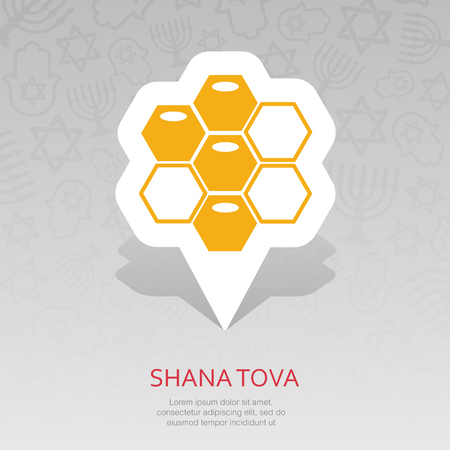 Bee honeycomb. Honey. Rosh Hashanah pin map icon. Shana tova Map pointer. Happy and sweet new year in Hebrew. Map marker. Graph symbol for your web site design, app, UI. Vector illustration