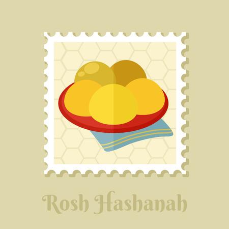 Hanukkah doughnut. Traditional Jewish holiday food. Rosh Hashanah stamp. Shana tova. Happy and sweet new year in Hebrew  イラスト・ベクター素材